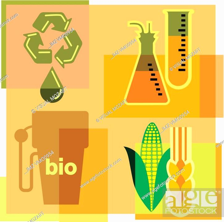 Stock Photo: Montage illustration about biofuels containing beakers, corn, wheat, gas pump and recycling symbol.