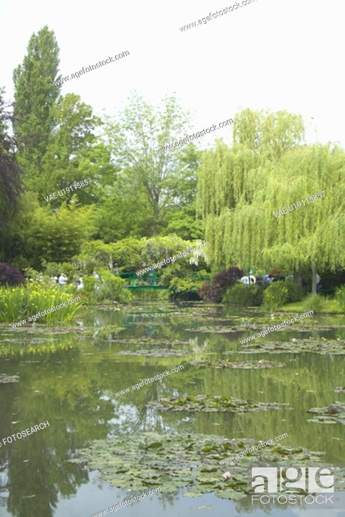 Stock Photo: The Gardens at Giverny with Monet's Bridge.