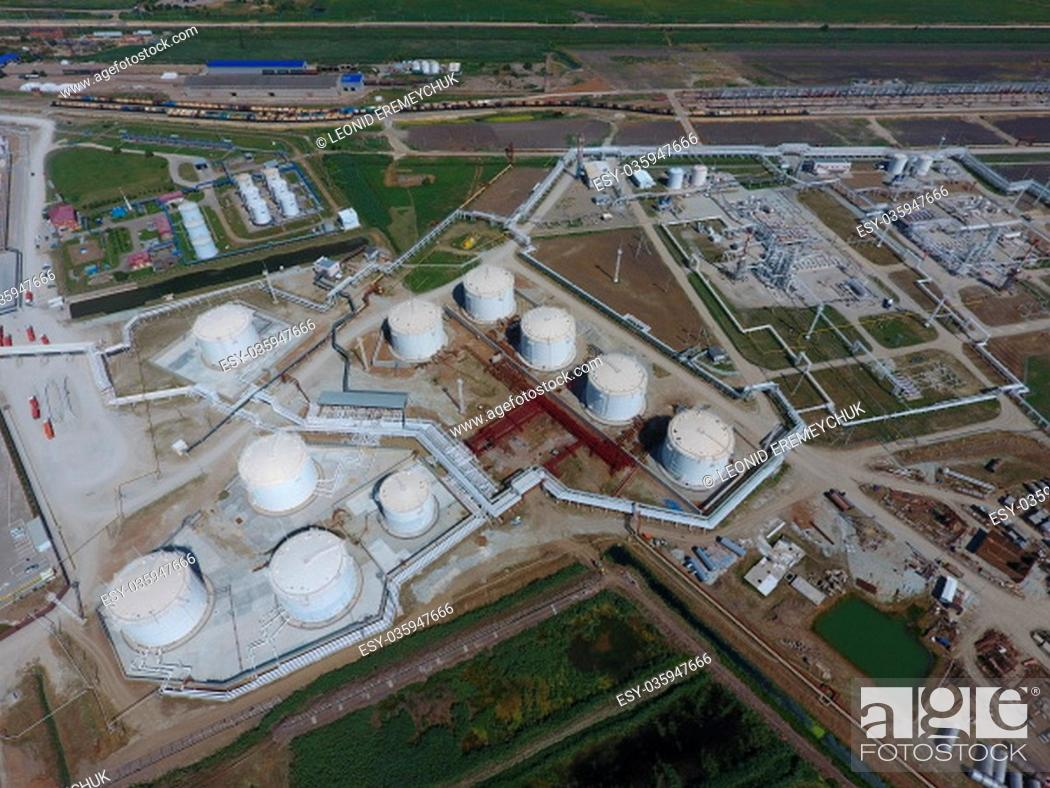 Stock Photo: Reservoirs for storage of oil and products of its processing. Refinery.