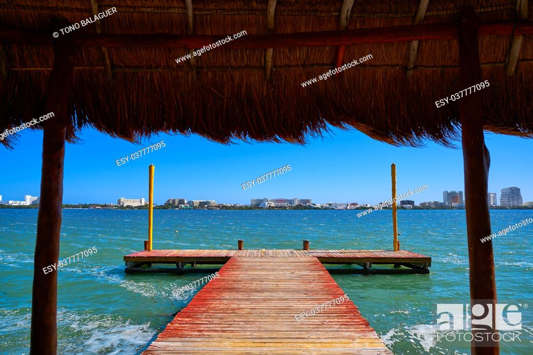 Stock Photo: Cancun Pok-Ta-Pok pier in Hotel Zone at Nichupte Lagoon of Mexico.