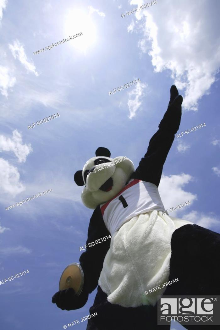 Stock Photo: Panda Throwing a Discus.