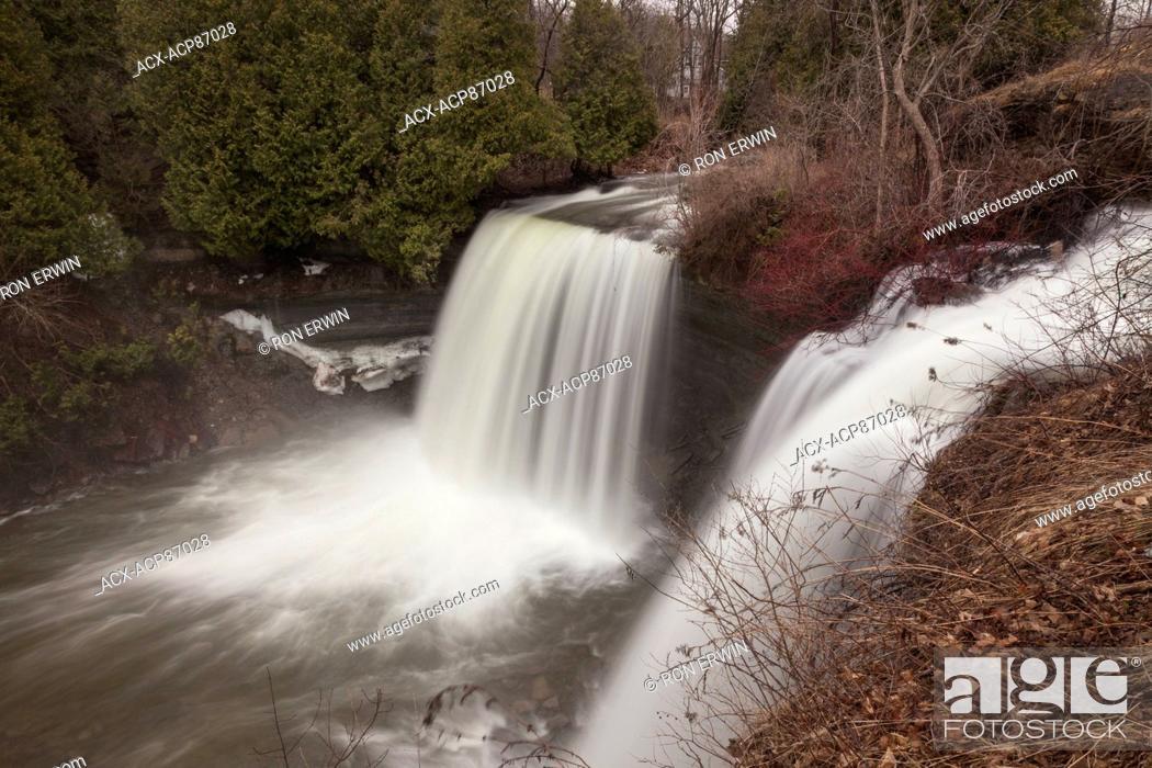 Stock Photo: Bridal Veil Falls - a Niagara Escarpment plunge type waterfall on Manitoulin Island in Kagawong, Ontario, Canada.