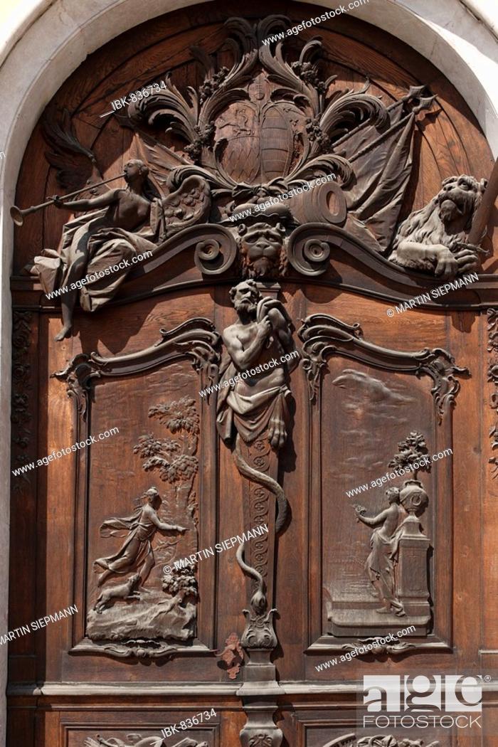 Stock Photo: Door on the eastern facade, New Schleissheim Palace, Oberschliessheim, near Munich, Upper Bavaria, Germany, Europe.