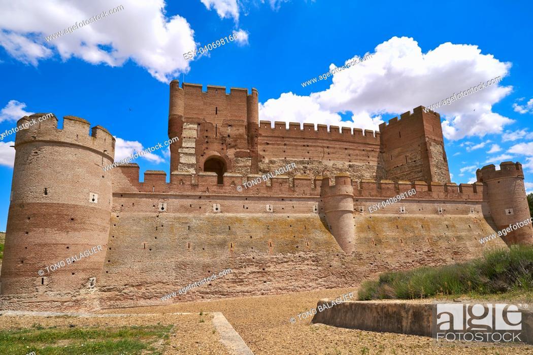 Stock Photo: Medina del Campo village in Spain Mota castle in Valladolid at Castile Leon.