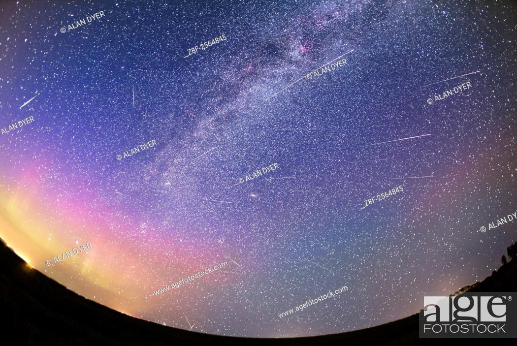 Stock Photo: A composite depicting the Perseid meteor shower on the night of Wednesday, August 12, 2015 as shot from southern Alberta, Canada. .