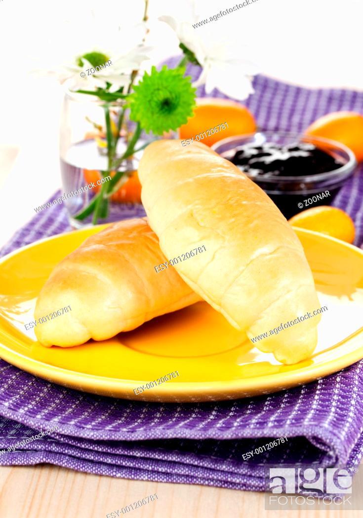 Stock Photo: breakfast with croissants.