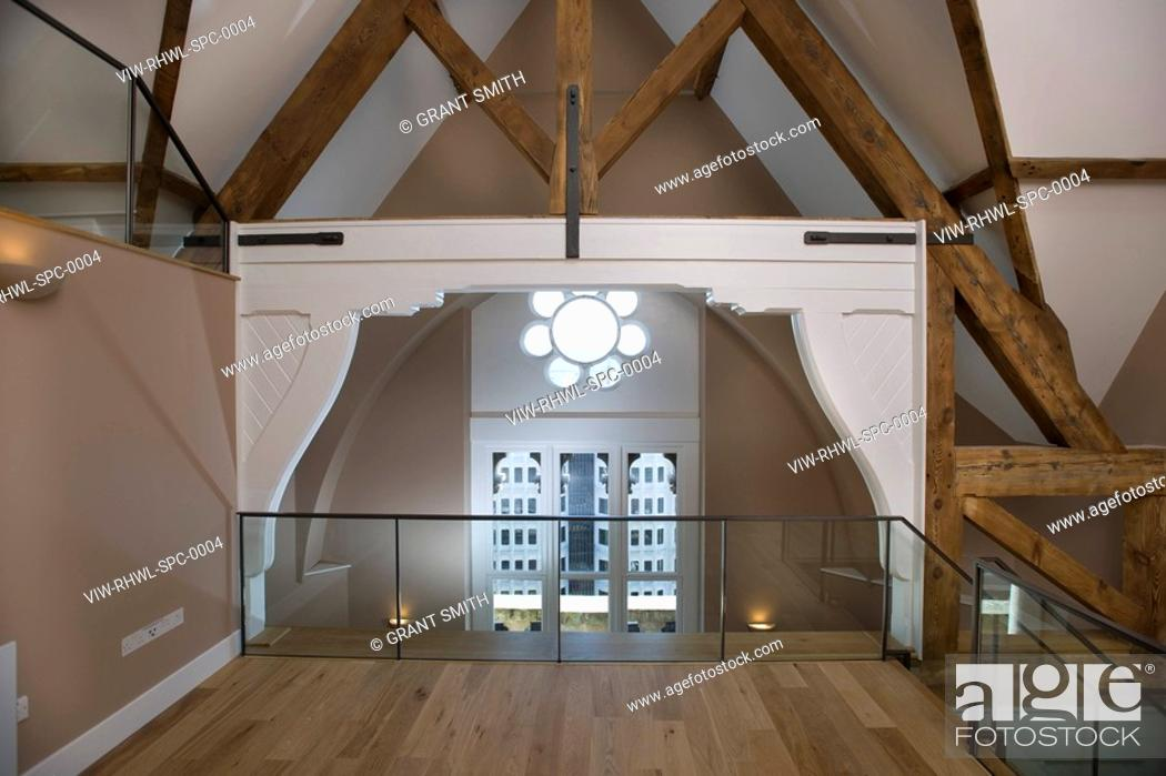 Stock Photo St Pancras Chambers Apartment Interior With Original Roof Beams In Duplex Split Level Êgrant Smith 2009