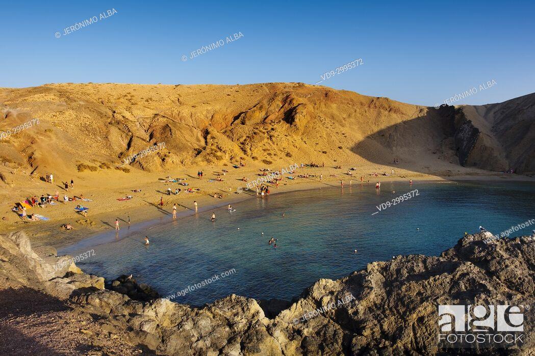 Stock Photo: Punta de Papagayo beach, Playa Blanca. Lanzarote Island. Canary Islands Spain. Europe.