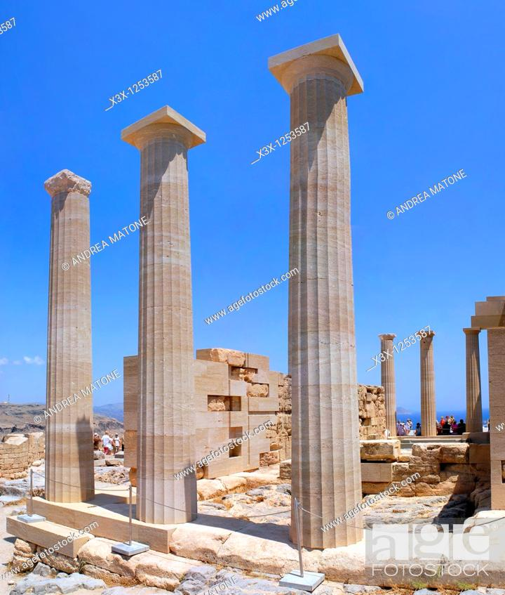 Stock Photo: The columns of the Doric Temple of Athena Lindia atop the acropolis of Lindos Greek island of Rhodes Greece.