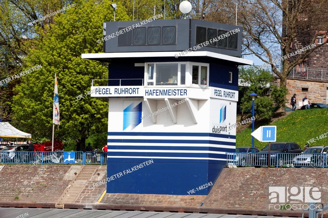Stock Photo: Harbourmaster's office and level, Ruhrort district, Duisburg, North Rhine-Westphalia, Germany, Europe.