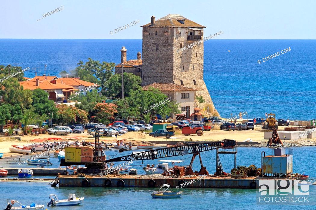 Imagen: Ouranopoli, Greece - June 27, 2011: Aerial View of Ouranoupoli Tower and Crane Barge in Ouranopoli, Greece.