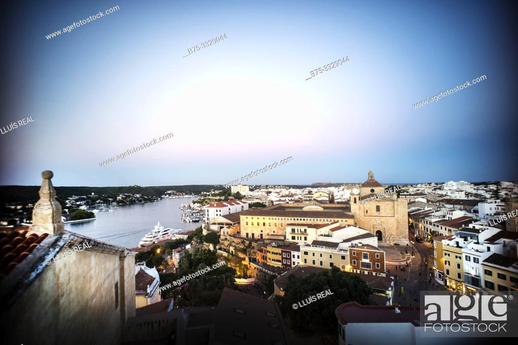 Stock Photo: View of the port and city at dusk. Mahon Menorca, Balearic Islands, Spain, Europe.