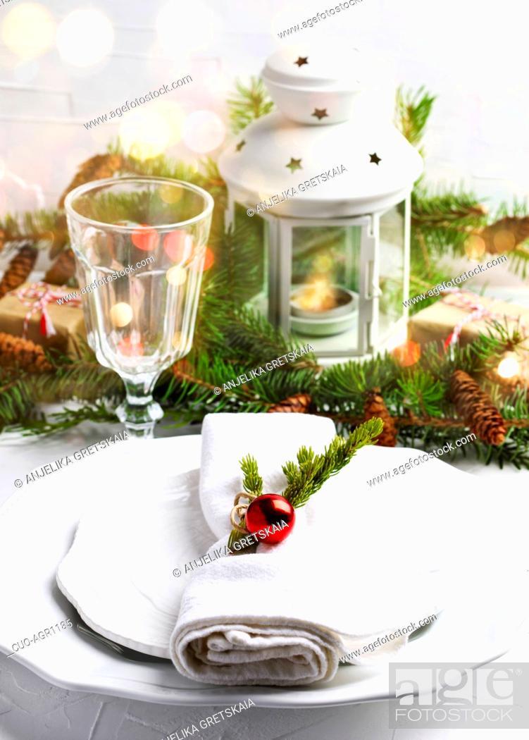Stock Photo: Christmas table setting.