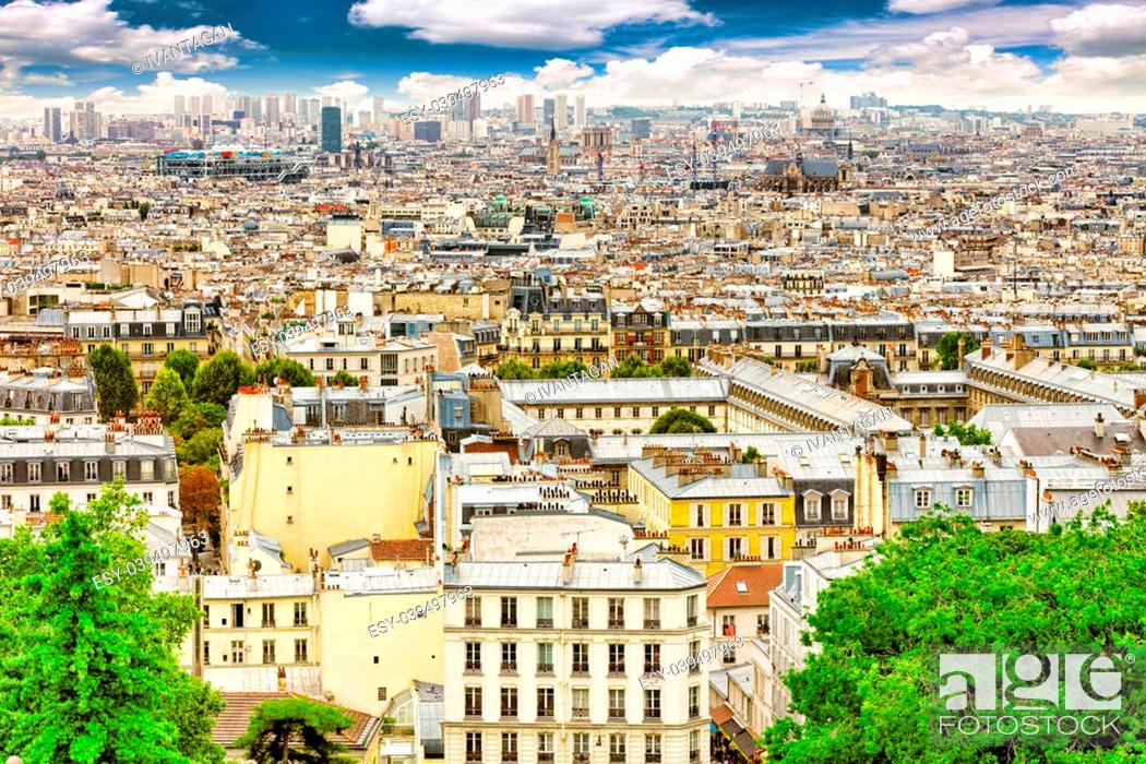 Stock Photo: View of Paris from the hill of Montmartre.Paris. France.