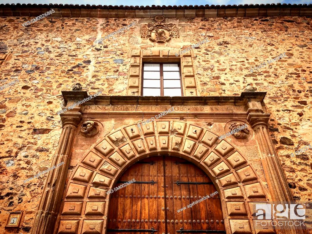 Stock Photo: The facade of the Espiscopal Palace in Caceres, Extremadura, Spain.