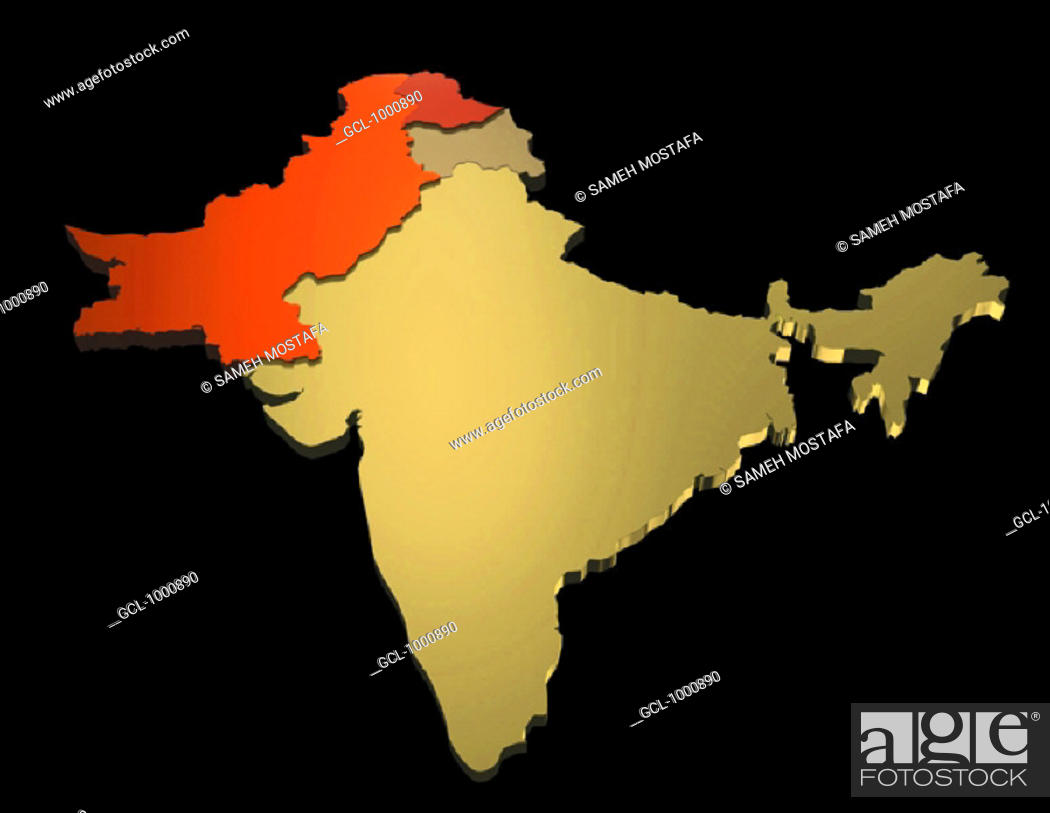 Stock Photo: map of India, Pakistan.
