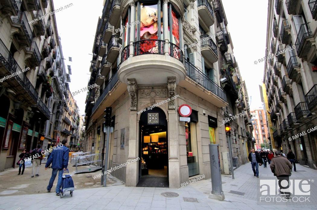 Stock Photo: Intersection Canuda and Santa Anna streets, next to the La Rambla, Barcelona, Catalonia, Spain.