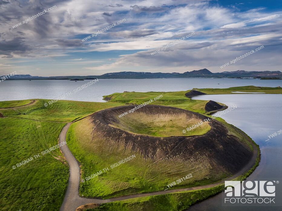 Stock Photo: Skutustadagigar pseudo craters, Lake Myvatn, Northern Iceland. . Drone photography.