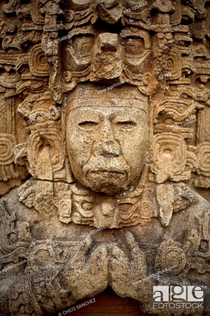 Stock Photo: A stela representing the king Zots Choj Muan at the ancient Mayan city of Tonina, Ocosingo, Chiapas, Mexico.