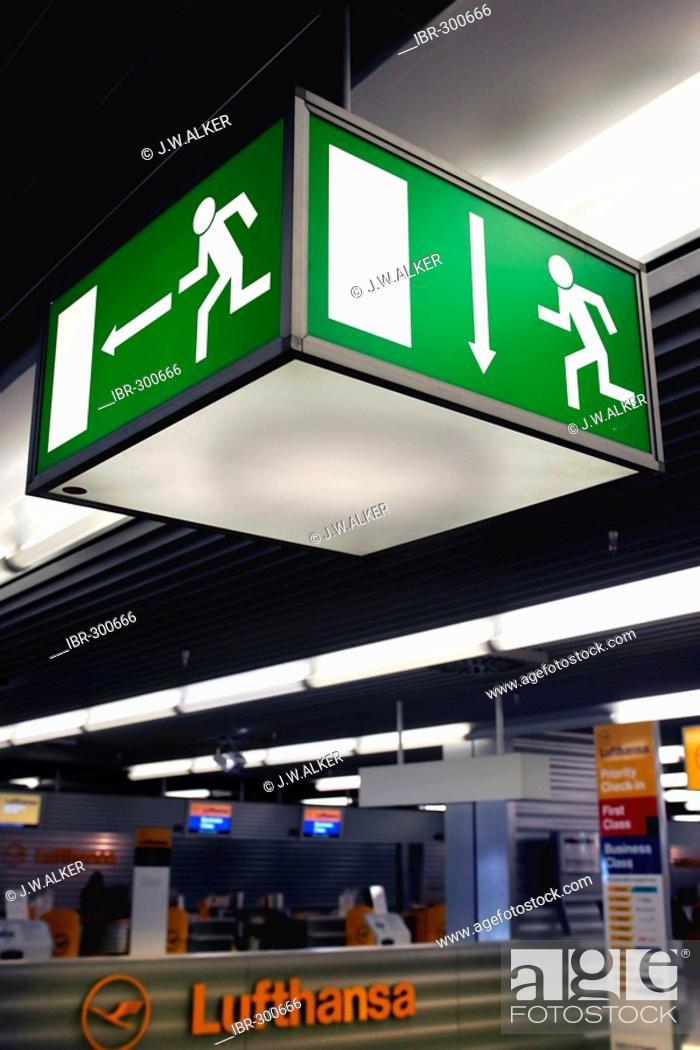 Stock Photo: Sign EMERGENCY EXIT, Frankfurt airport, Frankfurt, Hesse, Germany.