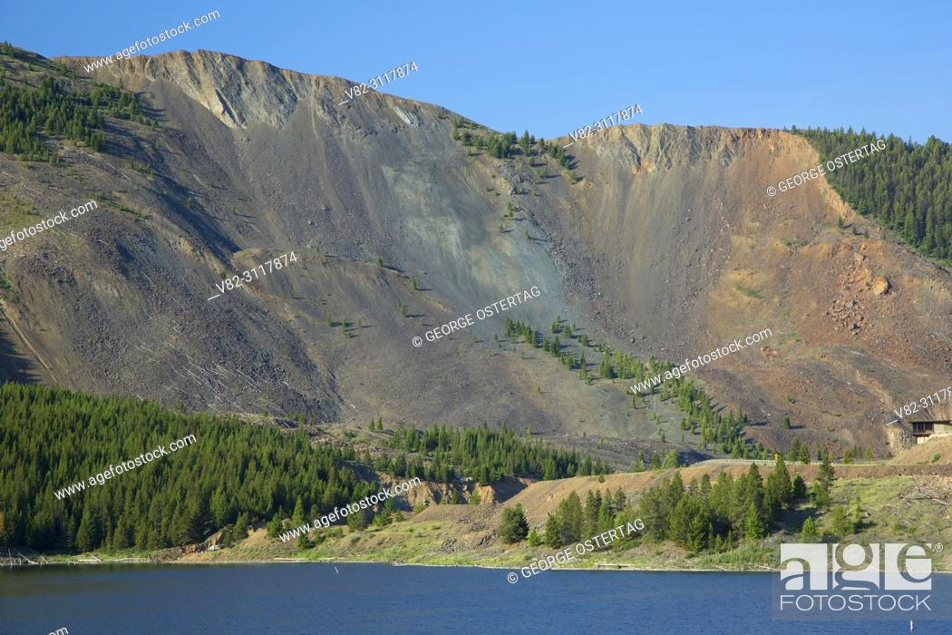 Stock Photo: Earthquake Lake with landslide, Madison River Canyon Earthquake Area, Gallatin National Forest, Montana.
