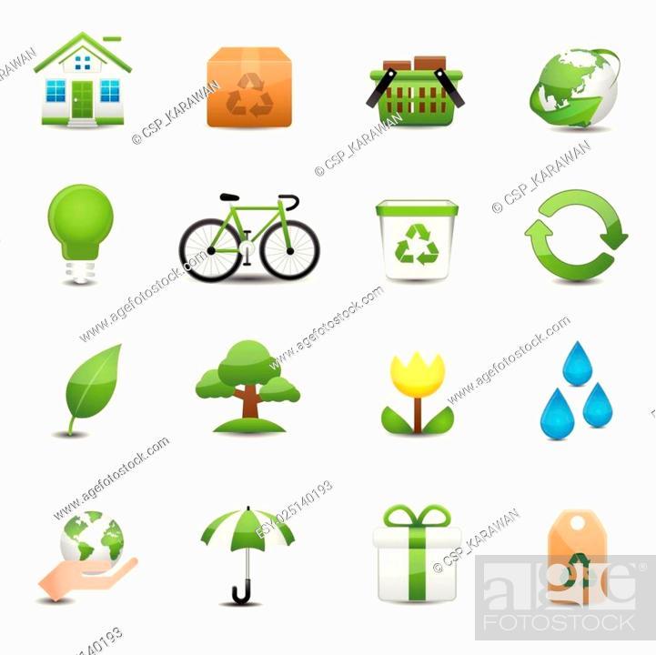 Stock Vector: Green Ecology Icon Set.