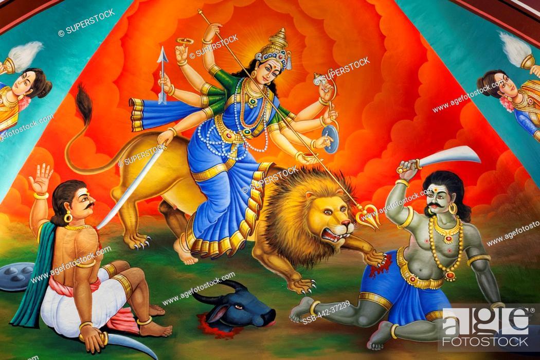 Painting of Hindu deity of Goddess Durga Mahishasur Mardini