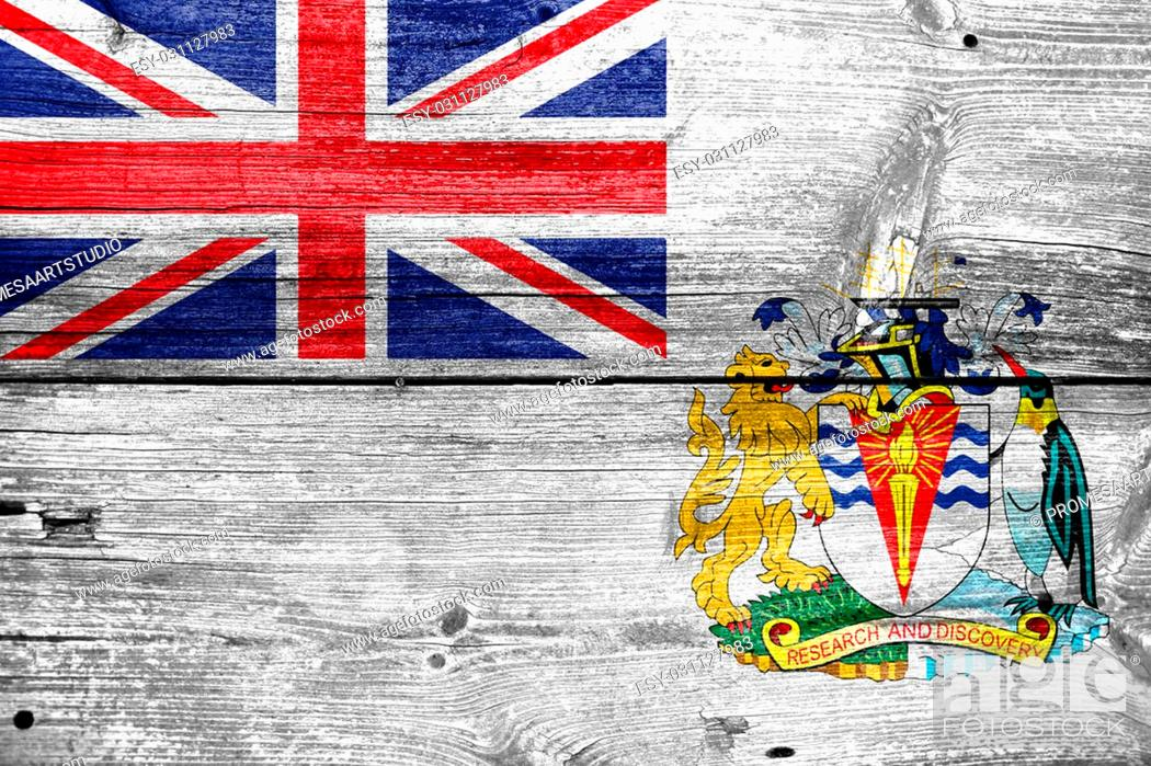 Stock Photo: Flag of the British Antarctic Territory, painted on old wood plank background.