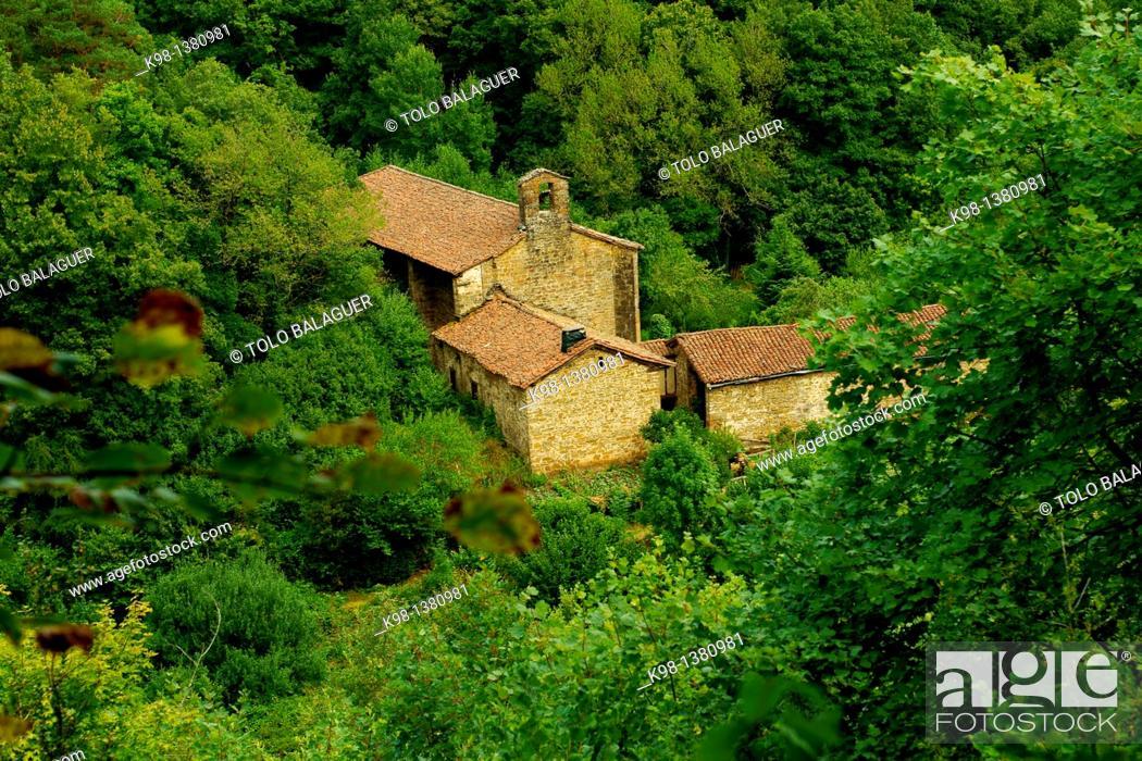 Stock Photo: Idoia Sanctuary, XV-XVI century, Isaba, Roncal Valley, Grand tour 11, Navarra Pyrenees Mountains Spain.