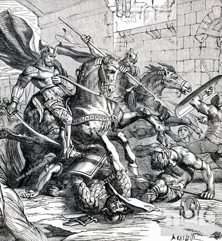 This 1895 illustration shows the capture of Tyre as told in the