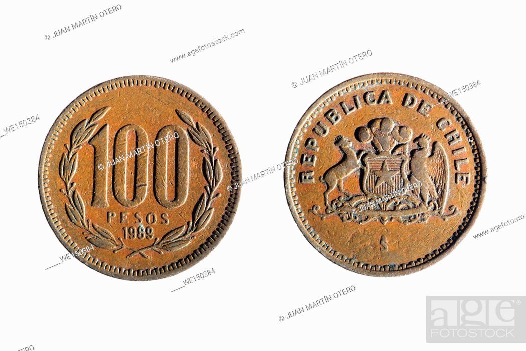Stock Photo: front and back of a chilean currency of one hundred pesos on white background.