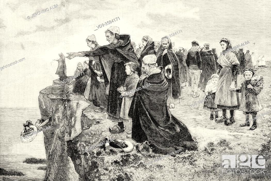 Stock Photo: Traditional tribute to the victims who disappeared at sea in the late 19th century, Spain. Old XIX century engraved illustration from La Ilustracion Española y.