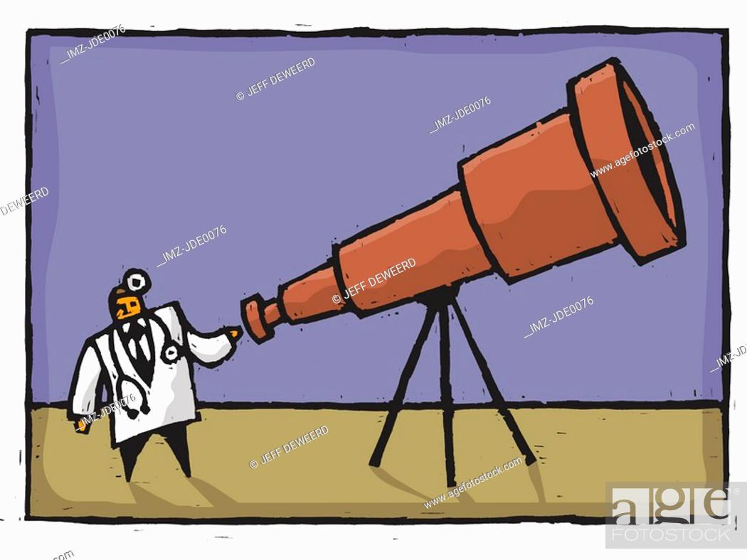 Stock Photo: doctor looking through a telescope.
