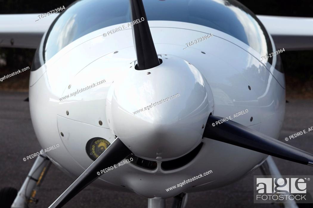 Stock Photo: Ultralight aircraft engine in a hangar, Lugo, Spain.