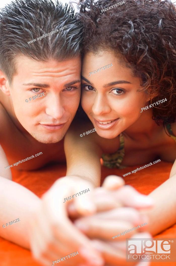 Stock Photo: Portrait of a couple romancing.