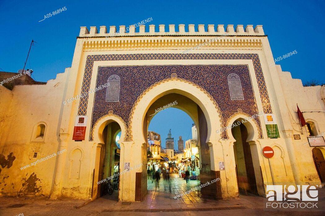 Stock Photo: Bab Bou Jeloud gate, main entrance to Fes medina, Fes el Bali, Fes, Morocco.