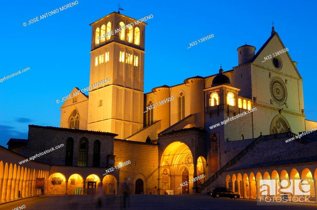 Stock Photo: Assisi, Basilica di San Francesco, Basilica of Saint Francis at Dusk, UNESCO World Heritage site, Perugia province, Umbria, Italy.