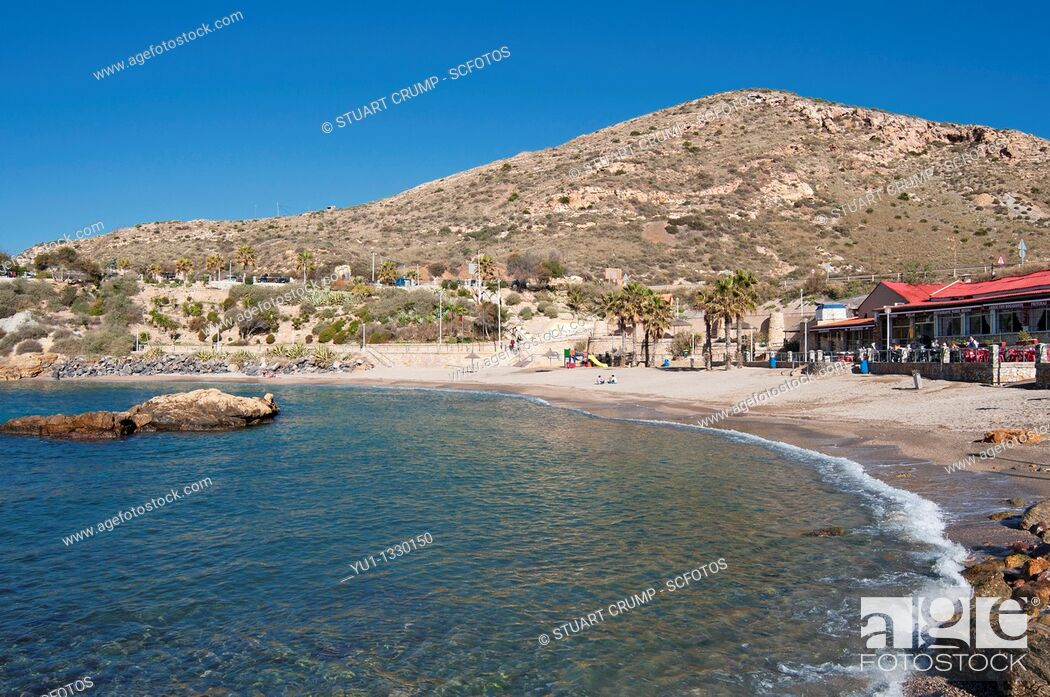 Stock Photo: Cala Cortina beach just outside the city of Cartagena in the region of Murcia, Costa Calida, Southeastern Spain.