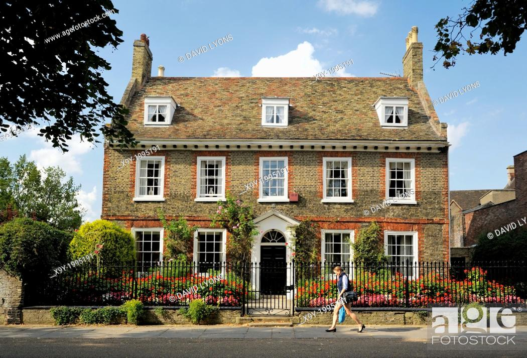 Stock Photo: A fine English brick town house on Palace Green close to West Door of Ely Cathedral. Cambridgeshire, England.