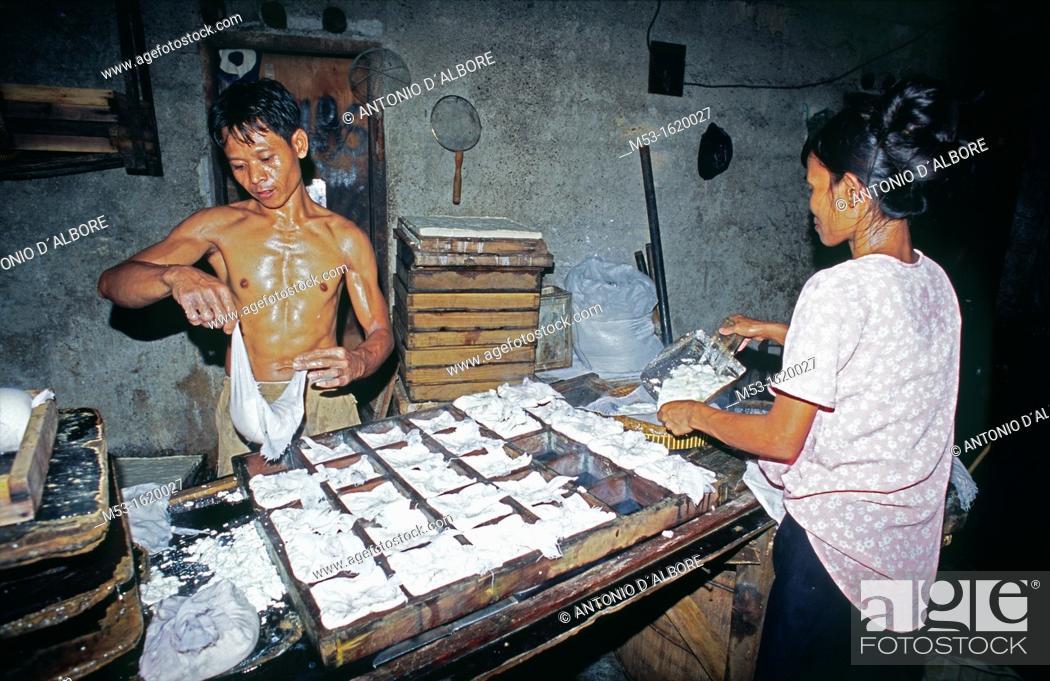 Stock Photo: Tofu factory workers  Kuningan District  Jakarta  Indonesia.
