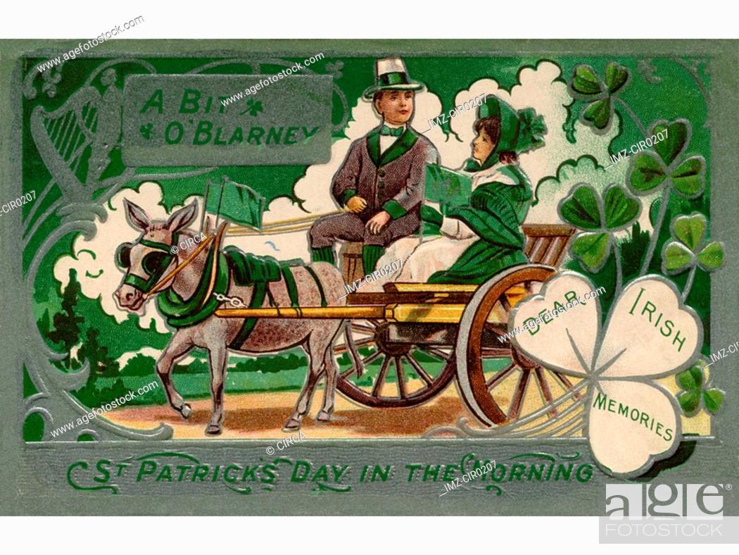 Stock Photo: A vintage poster of a couple in a carriage.