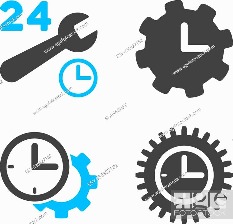 Stock Vector: Service Time vector icons. Style is flat bicolored symbols painted with blue and gray colors on a white background, angles are rounded.
