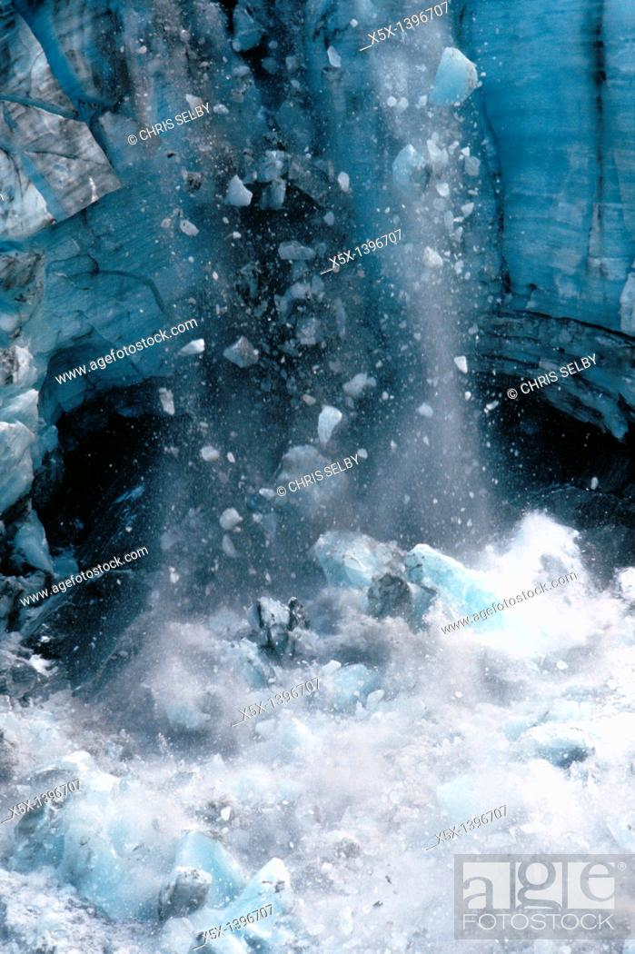 Stock Photo: Icefall on Franz Josef Glacier on the South Island of New Zealand.