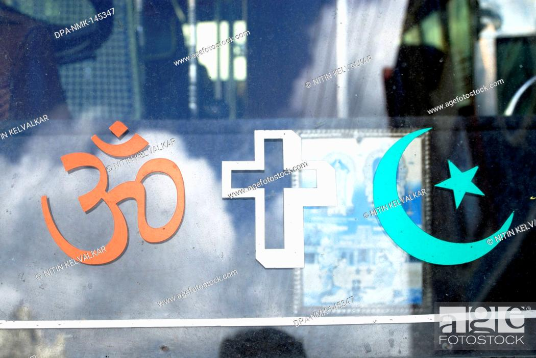Om Cross Moon And Star The Religious Symbol Of Hindu