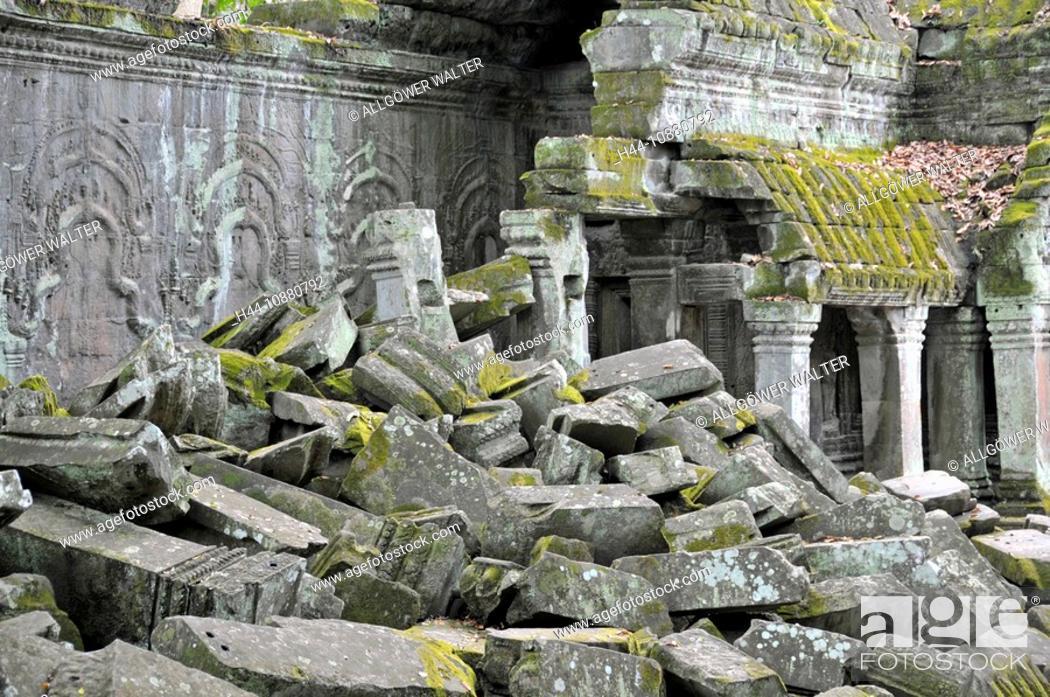 Stock Photo: Ruinen der Tempelanlage von Ta Prohm, Angkor Thom, Welterbe der UNESCO, Siem Reap, Kambodscha, Asien.