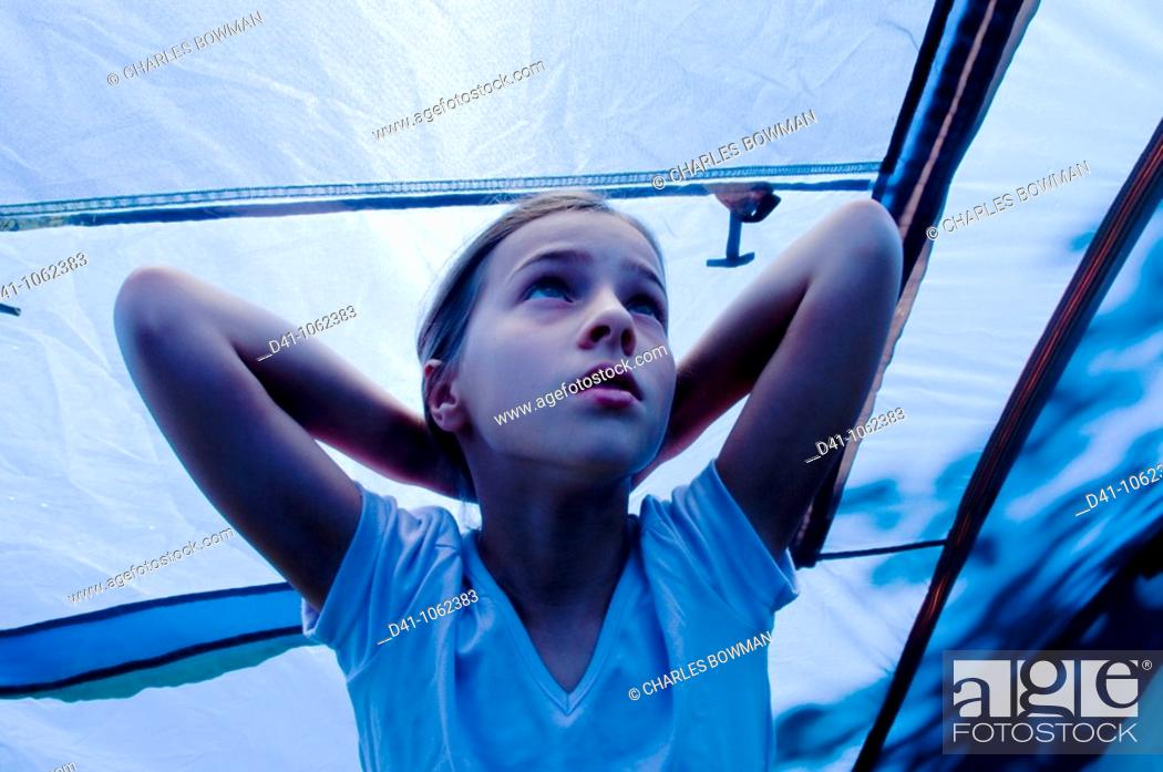 Stock Photo: Child in blue tent.
