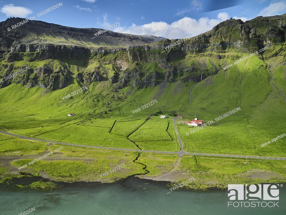 Stock Photo: Farmland, The Eyjafjoll area, South Coast, Iceland.