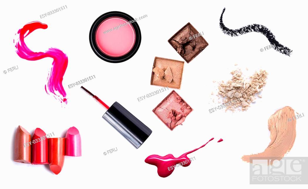 Stock Photo: set of Scratch lipstick, blush on, powder and make up cosmetics collection.