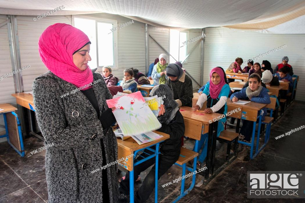 Stock Photo: Al Za'atari, Al Mafraq region, Jordan, Middle-East. UNICEF provides primary education in the Jordan refugee camp Al Za'atari.