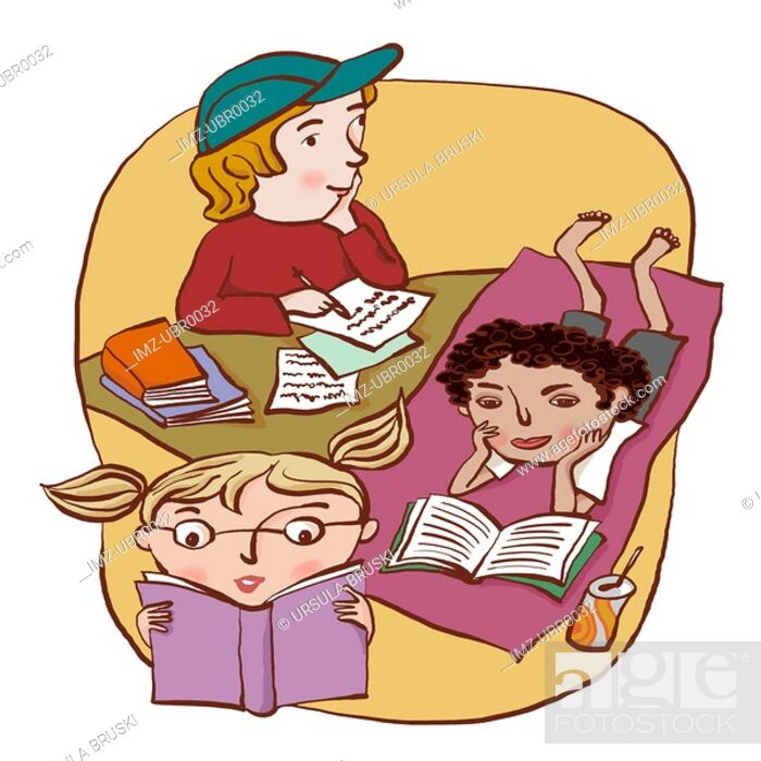 Stock Photo: A group of three children reading and writing happily.